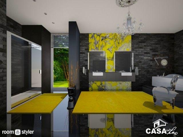Yellow and Black Bathroom (Bathroom)