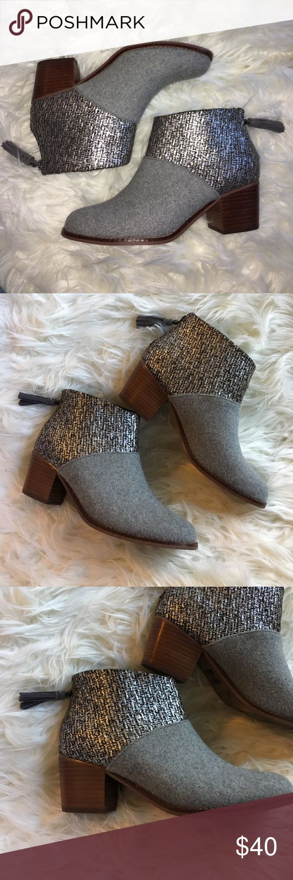 TOMS gray and metallic silver zip up booties These cuties are like new. Perfect with boyfriend Jeans and a tee! Comfy and stylish. ✨ Offers Welcome ✨ TOMS Shoes Ankle Boots & Booties