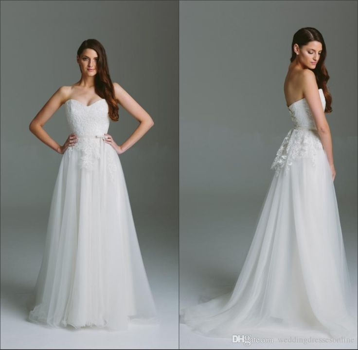 Wholesale new wedding dresses, panina wedding dresses and vintage dresses online on DHgate.com are fashion and cheap. The well-made  lace sweetheart neckline long wedding dresses a-line formal tulle sleeveless a-line sweep train zipper simple bridal dress gowns hot sale sold by weddingdressesonline is waiting for your attention.