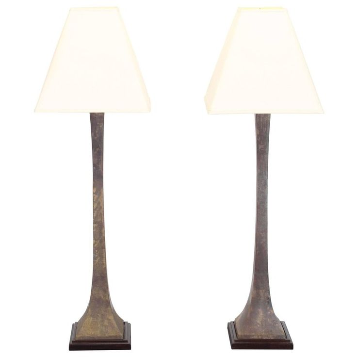 Pair of Modernist Bronze Floor Lamps by Leonard R. Foss, 1980 | From a unique collection of antique and modern floor lamps at https://www.1stdibs.com/furniture/lighting/floor-lamps/