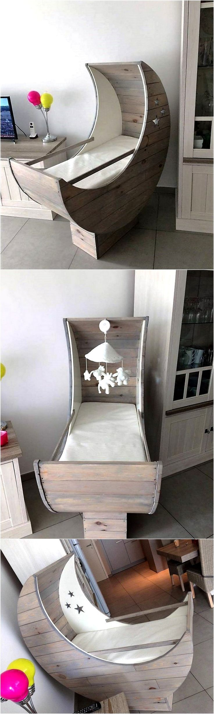 This is a pallet wood made baby cradle half moon. …
