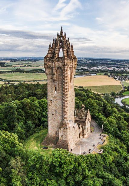 The Wallace Monument Aerial view. Located on the summit of Abbey Craig, Scotland.