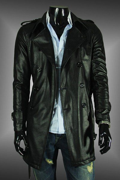 Solid Color Epaulet Design Slimming Turndown Collar Long Sleeve Vogue PU Leather Coat For Men #jewelry, #women, #men, #hats, #watches, #belts, #fashion