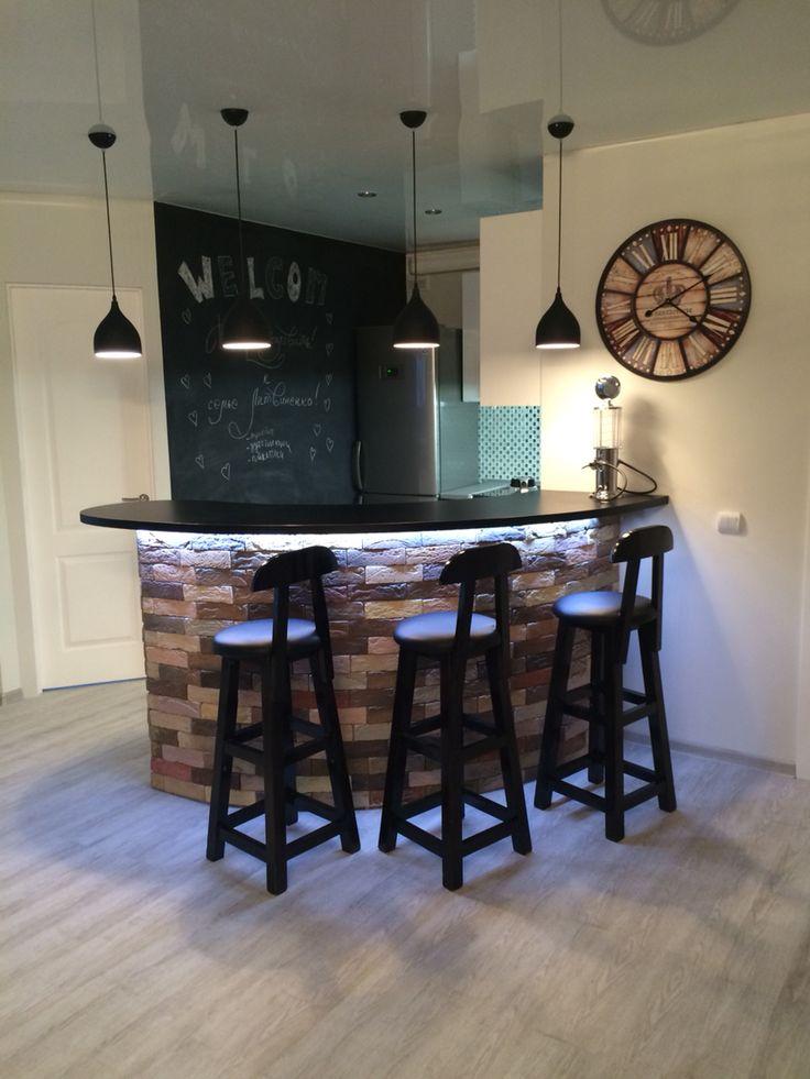 Bar in livingroom. Барная стойка из камня. Гостиная совмещённая с кухней.
