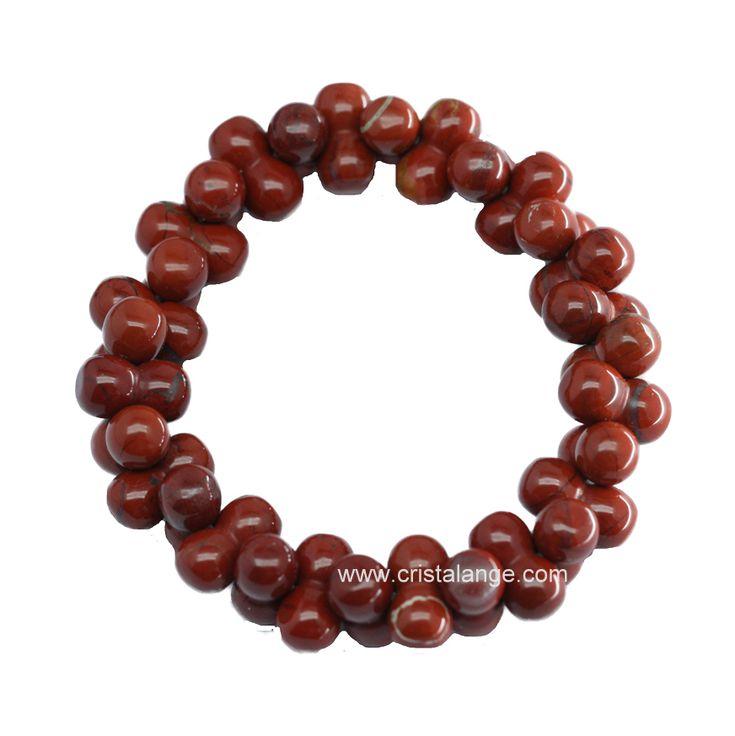 Bracelet en jaspe rouge de forme 8