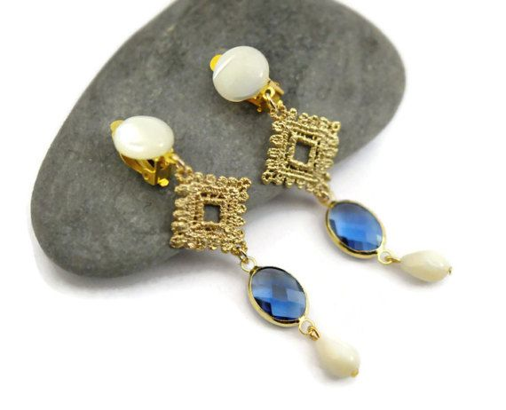 White and blue earrings shell earrings gold clip on by UneDemiLune