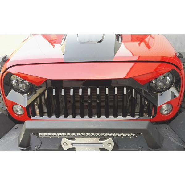 Safaripal Jeep Wrangler Gladiator Angry Front Grille Grill for 2007 - 2017 Jeep Wrangler Rubicon Sahara Sports Jk Black Made of High Quality Light-Weight ABS Pl
