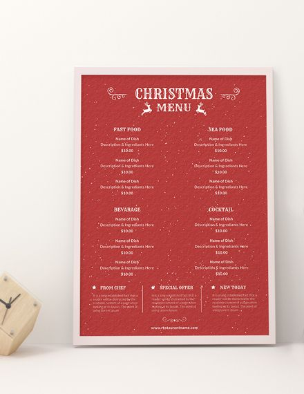 free retro christmas menu christmas designs templates