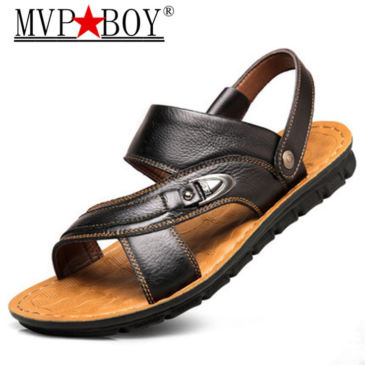 Mvp Boy Men Sandals Genuine Split Leather Men Beach Shoes Brand Men Casual Shoes Men Sandals Sneakers Summer Shoes Flip Flops