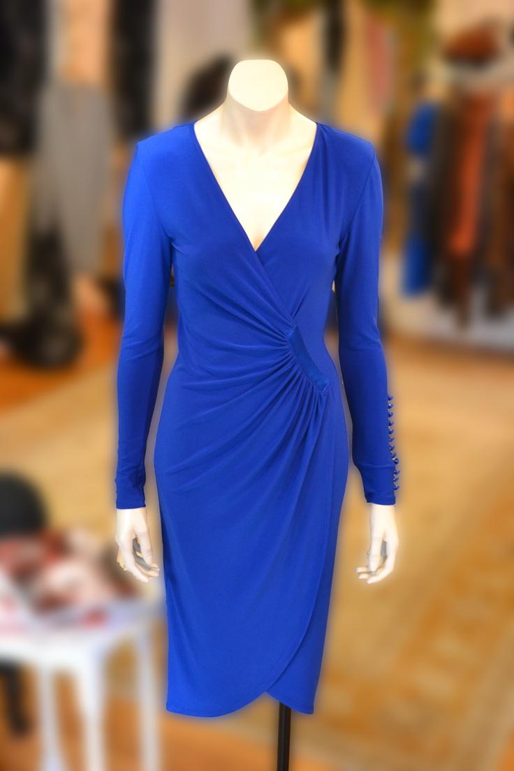 Joseph Ribkoff beautiful figure hugging royal blue dress.