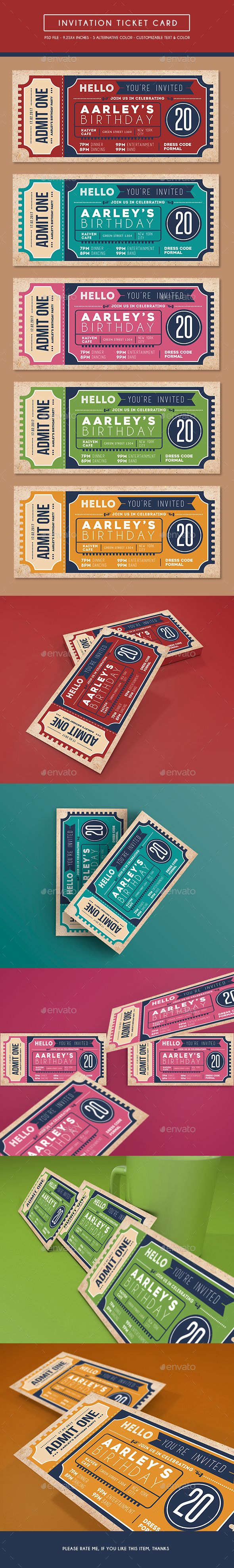 Invitation Ticket — Photoshop PSD #concert #celebrate • Available here → https://graphicriver.net/item/invitation-ticket-/14968921?ref=pxcr