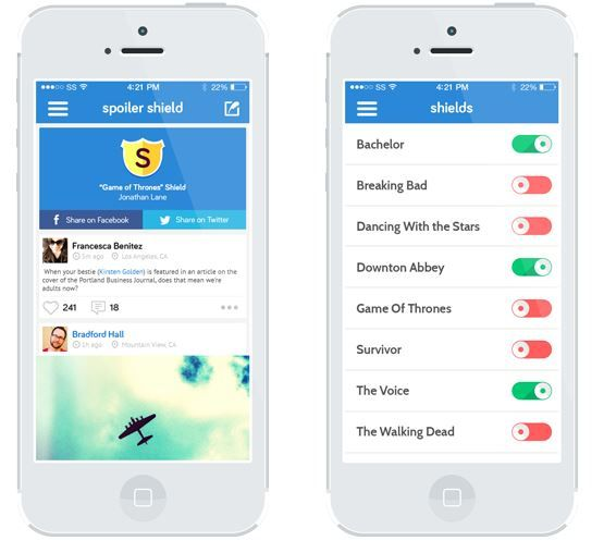 Spoiler Shield app: Blocks spoilers on Twitter + Facebook from your favorite shows. Best thing ever!