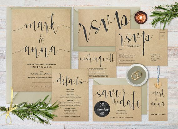 Bespoke diy printable wedding invitation suite, looks great printed onto kraft! Also available in a variety of colours and styles