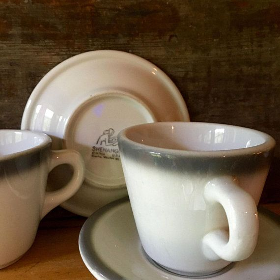 Vintage Coffee Cup And Saucer Grey Air Brushed Diner Coffee Durable Restaurant Ware Shenango C Vintage Coffee Cups Coffee Cups And Saucers Vintage Coffee