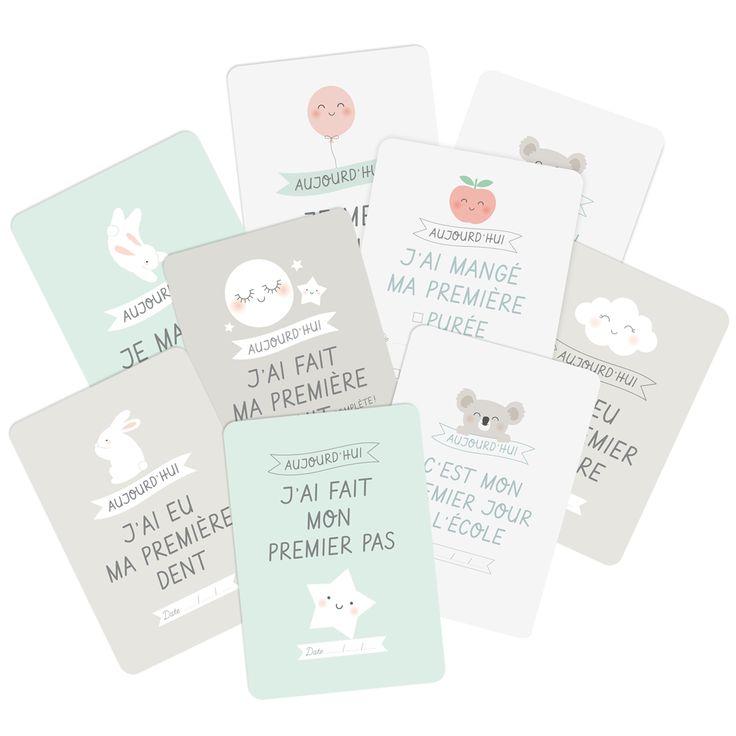 Les cartes étapes sont de plus en plus répandues, l'idée est d'accessoiriser la photo de bébé ou de l'enfant avec une carte message comme : «aujourd'hui j'ai 1 mois», «Aujourd'hui j'ai fait mes pre