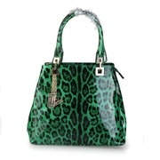 Versace Leopard Printed Patent Leather Tote - Green