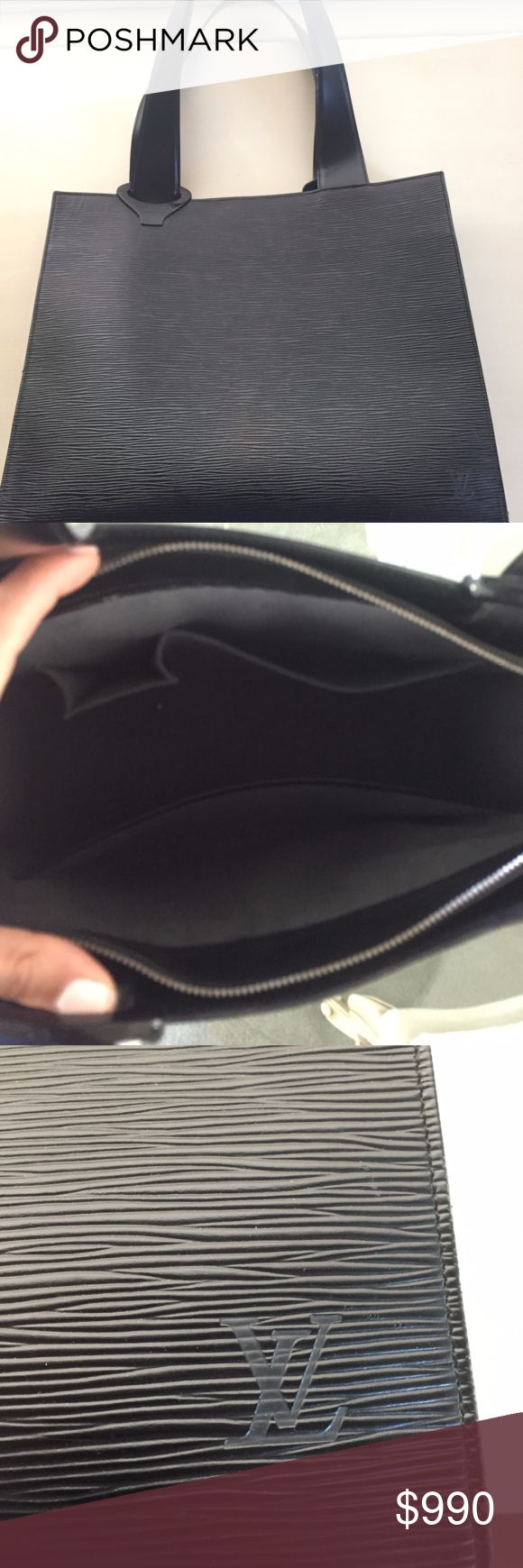 AUTHENTIC LOUIS VUITTON Black Shoulder Bag Ultra slick Epi Leather black shoulder bag. Perfect for any meetings, business gatherings, dinners/ outings. Big side bag, in GREAT condition. Purchased in Italy. Has one very tiny white mark near  the bottom. Louis Vuitton Bags Shoulder Bags