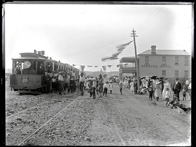 Opening of the Mayfield (#Newcastle) Steam tram line, 11th January 1901. Image shows the steam tram travelling through Mayfield. A large crowd has gathered in front of the Waratah Hotel for the event. It's amazing how fast we haven't come #history #sydne