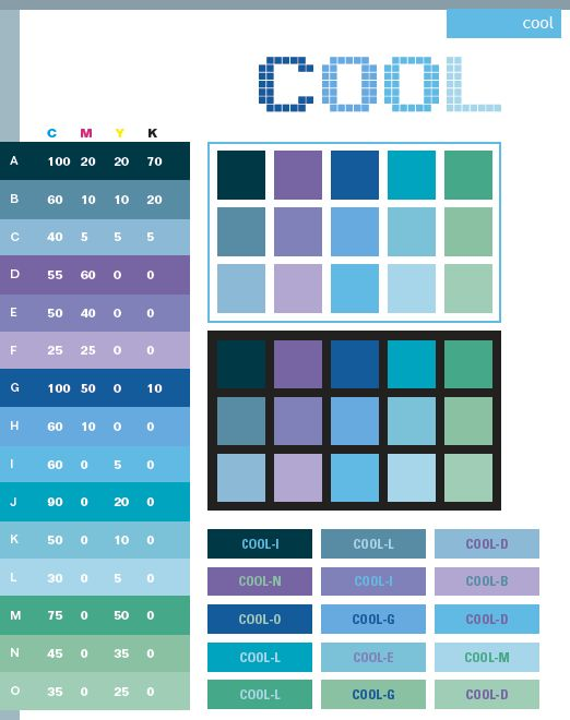 Cool color schemes, color combinations, color palettes for print (CMYK) and Web (RGB + HTML)