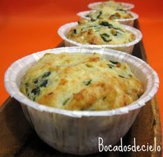 Muffins de queso y espinaca