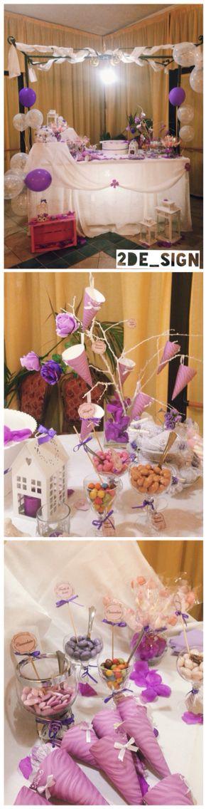 Bonbons and candies, a shabby table with purple decorations, ideas for a purple party / confettata con caramelle e confetti, un tavolo #shabby con decorazioni ispirate a varie sfumature di Viola , ideali per un party a tema viola ! #cresima #partyideas #party #pinkparty #purpleparty #candies #bonbons #shabbychic