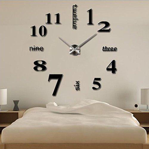 lacaca diy large wall clock 3d mirror surface sticker home office decor black lacaca