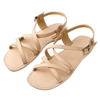 Soft leather mesh sandals MUJI