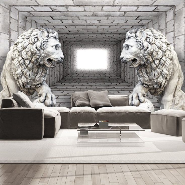 Wall Mural - Stone Lions #style #home #wallart #inspiration #roomdecor #waterproof #cover #beauty #statue #lions