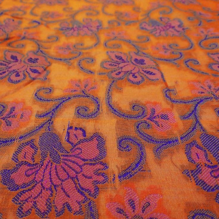"45"" Wide Orange Crafting Fabric Decorative Blouse Brocade Sewing Fabric By The Yard: Amazon.co.uk: Kitchen & Home"