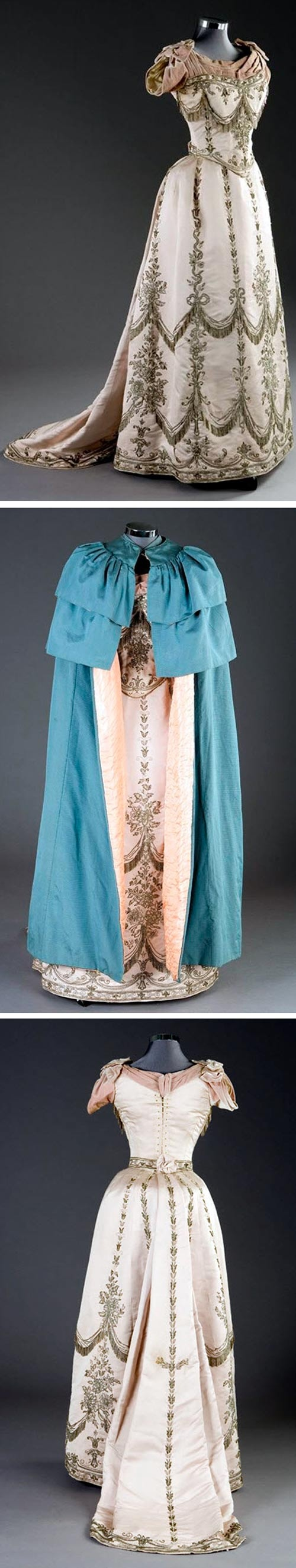 Ball Gown, House of Worth & Evening Cape, Lemmonier -- 1888 -- Kerry Taylor Auctions