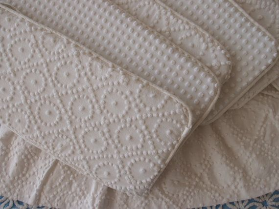 Baby crib bumpers set and crib bed-skirt all in white vintage chenille - hand-tufted popcorn