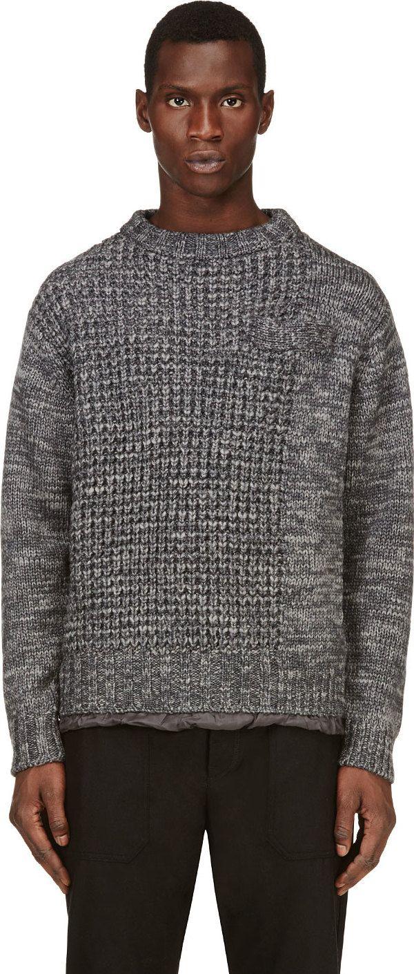 Sacai - Grey Marled Knit Sweater | SSENSE
