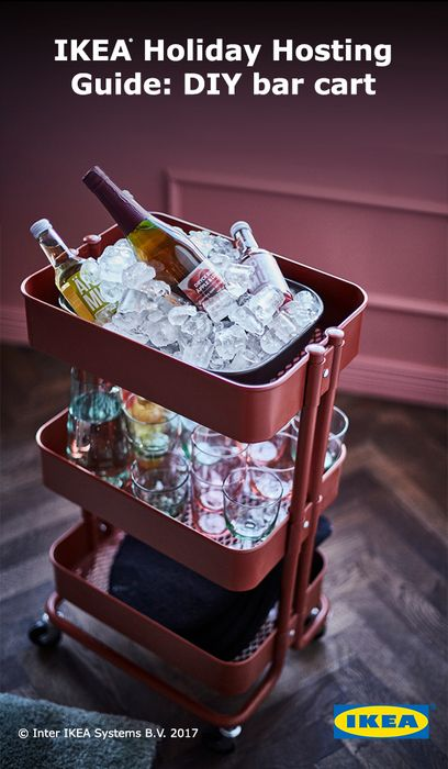 The perfect holiday DIY project using an IKEA RÅSKOG cart. Create a self-serve rolling bar, so you can mingle with guests without playing bartender. Click to see more!