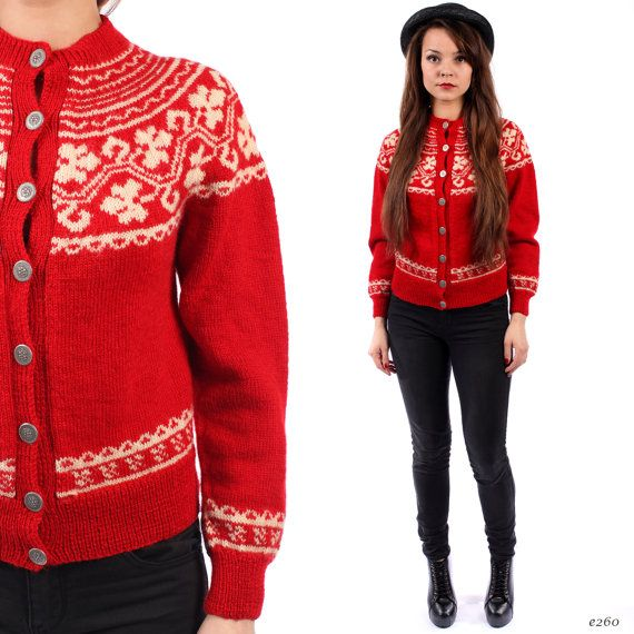 1940s Women Sweater Cardigan . Fair Isle Sweater . by BetaApparel, $120.00