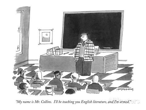 """My name is Mr. Collins. I'll be teaching you English literature, and I'm…"" - New Yorker Cartoon Premium Giclee Print by Mick Stevens at AllPosters.com"
