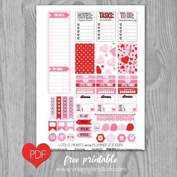 Lots O' Hearts Planner Stickers – Free Printable   Vintage Glam Collectibles by Dru Cortez