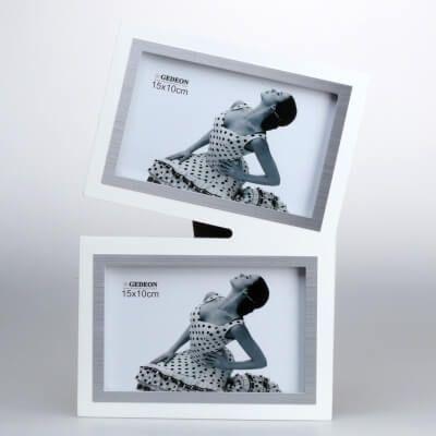 Biała ramka drewniana na 2 zdjęcia 10×15 cm