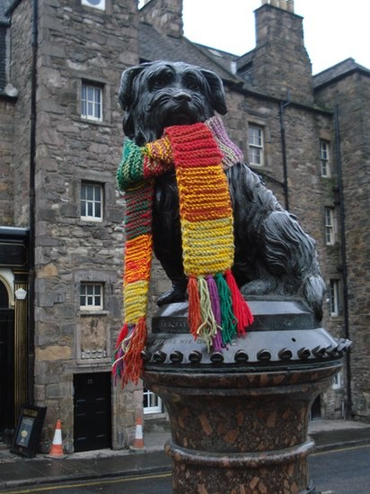 Too cute not to Pin. Edinburgh's Greyfriars Bobby with knitted scarf. Photo by Sonia Bober