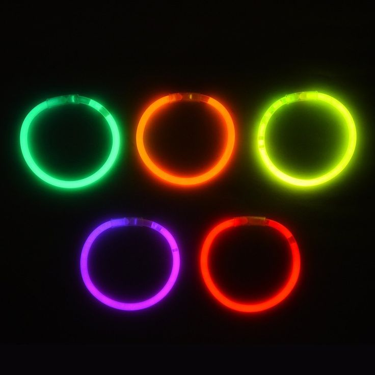 """Product description Snap and shake the glow sticks and connect the ends with the 1"""" connectors to form bracelets. Keep your slumber party or Halloween party glowing with these bright assorted colors glow-in-the-dark bracelets! Kids will love fashioning these glow accessories in their favorite colors. Fun for everything from nighttime backyard play and pool parties to trick-or-treating on Halloween night."""