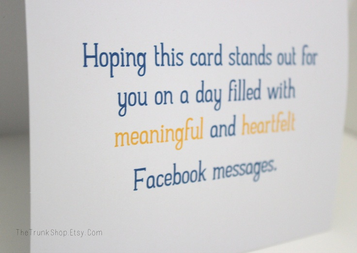 Facebook Birthday Card- 5 x 6.5 Greeting Card- Funny Birthday Card. $3.50, via Etsy.