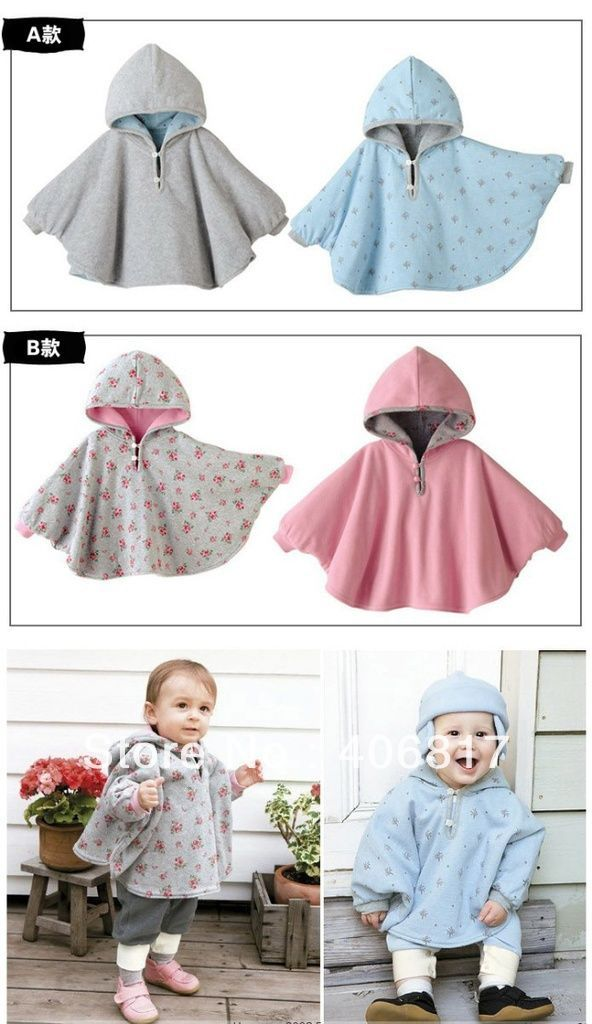 Floral Pattern Reversible top Baby Boy Girl Tooler Hoodie Cloak Poncho Cape Mantle Coat Jacket with Hat