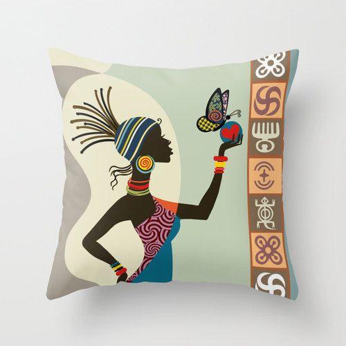 African Woman Decorative Pillow Afrocentric Decor Pillow