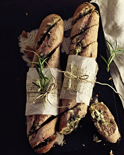 Cheesy Garlic & Herb Butter Baguettes | Sweet Paul
