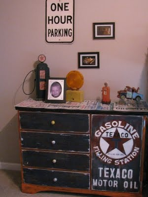 """Design Dazzle: 50 Ideas For Car Themed Boys Rooms --- the the """"Texaco Motor Oil"""" crest on the dresser. Love the distressing... means they can't damage it by distressing it even more. lol"""