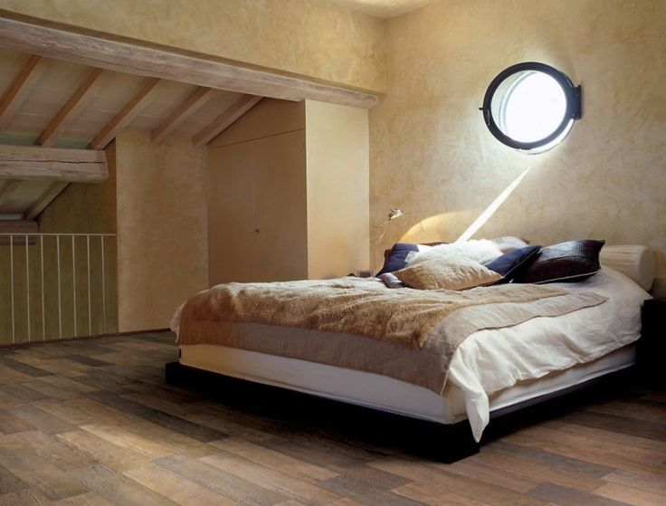 Astonishing Look-Like-Real-Wood Ceramic Tiles : Bedroom With Beige Bed And Ceramic Tiles www.tegels.com
