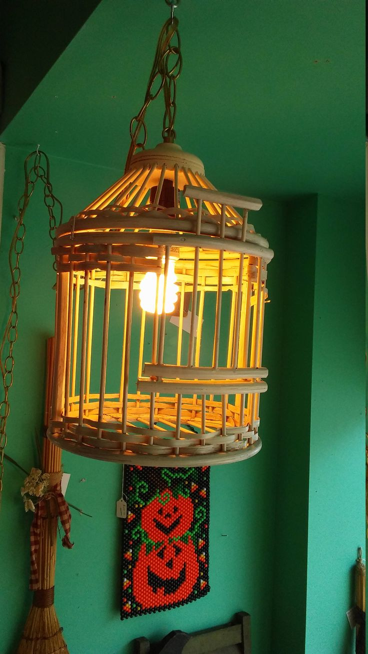 Cottage Chic Cream Colored Wooden Rattan Bird Cage Swag Light with Gold Chain. Versatile Home Decor. Kitchen,Bedroom,Living Room Lighting. by TheRustyBucketVT on Etsy