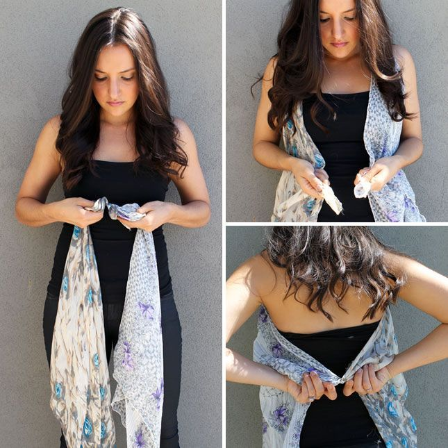 Ten ways to turn scarves into vests! Both sew and no-sew varieties are represented