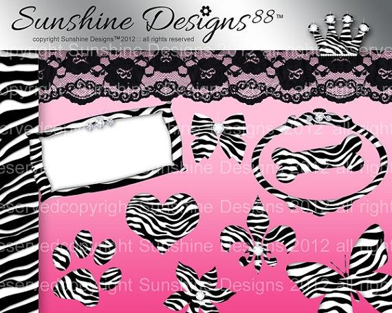 Digital Zebra Frame Icons Scrapbook Download by SunshineDesigns88, $5.98