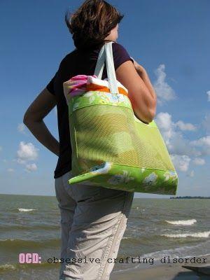 ocd: obsessive crafting disorder: Summers here! Mesh beach bag tutorial