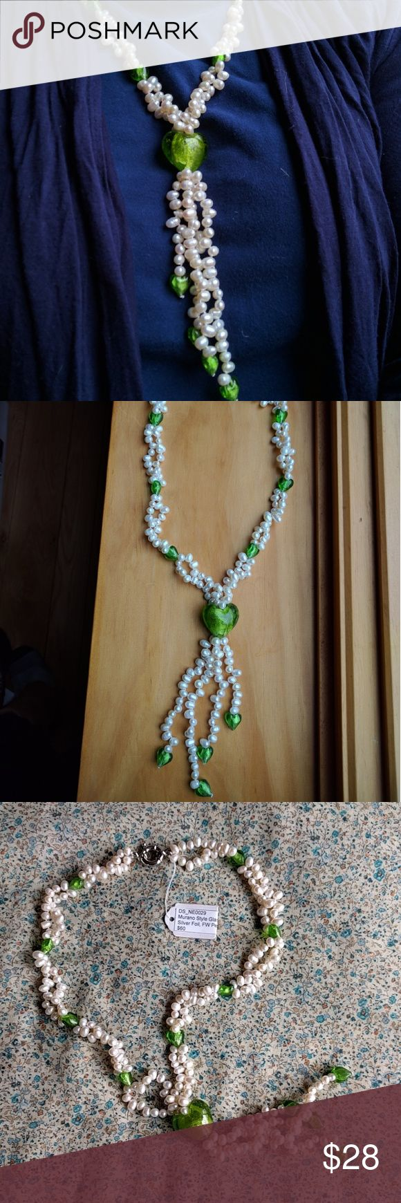 "NWT Murano style glass heart with pearl necklace Genuine freshwater pearls and green Murano style glass hearts make up this lovely dangling necklace.  Handmade and unique, a little boho and still classy with real pearls.  Measures 24"" length, dangling section measures 5.5"" length. Jewelry Necklaces"